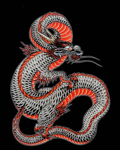 Japanese dragon 6 art print products art and dragon for Japanese dragon painting