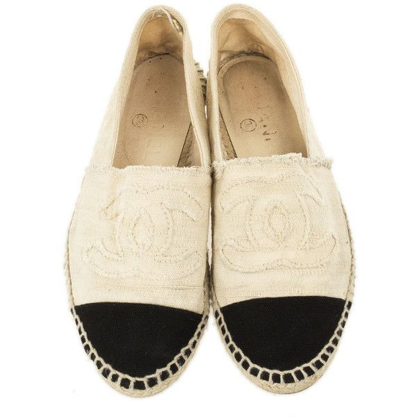 Chanel Black White CC Canvas Espadrilles Size 38 ❤ liked on Polyvore featuring shoes, flats, espadrilles shoes, canvas slip on shoes, canvas espadrille flats, canvas shoes and flat pumps