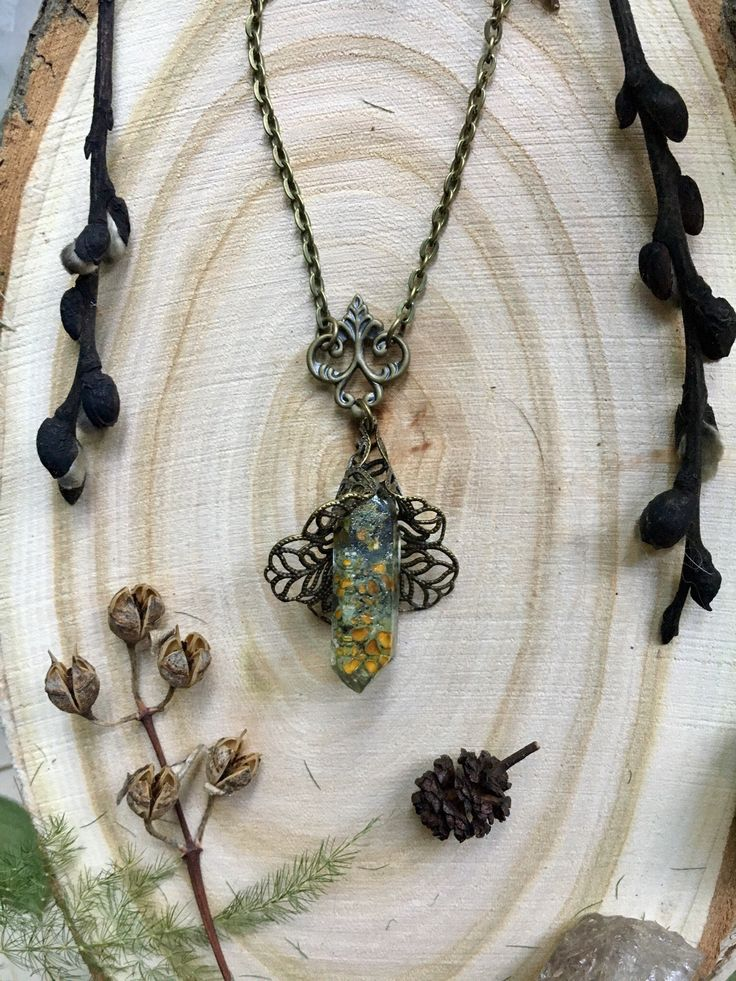 Elven jewelry, forest necklace, arcane necklace, Witchcraft, mystery forest
