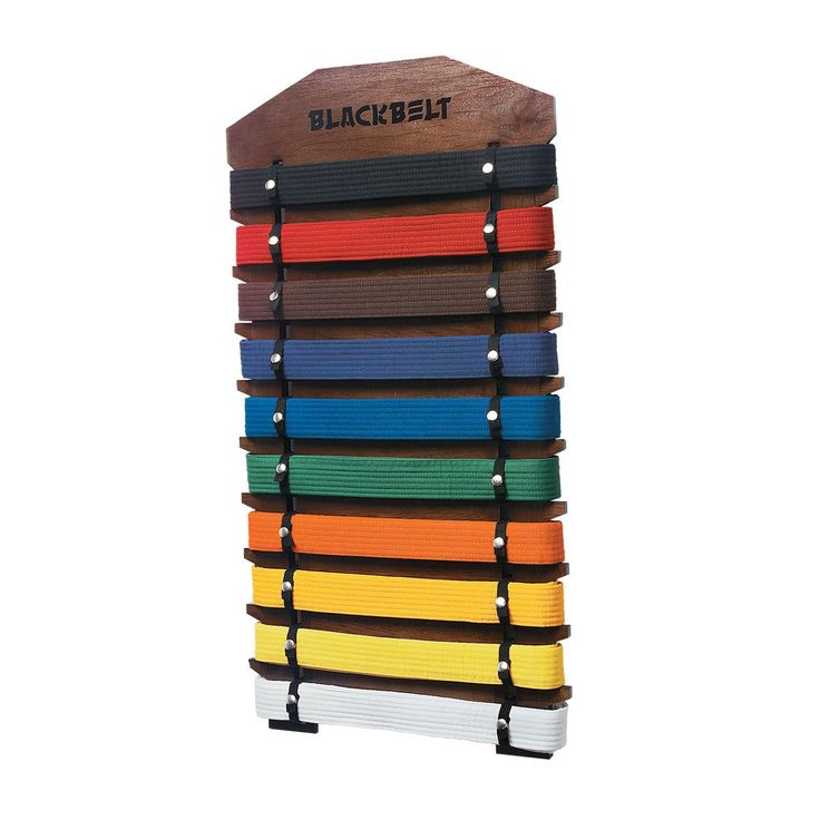 """Wall Belt Display - 10 Level comes in 2 finishes: Walnut and Cherry. A sticker sheet is included for customization. Belts not included. Size: 23.25"""" x 16""""."""