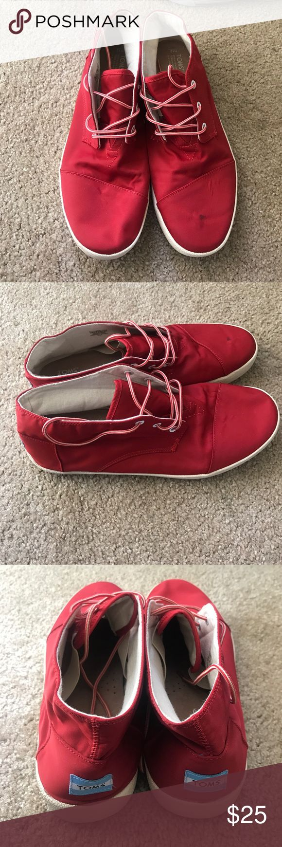 MENS TOMS Red HIgh Top Slip Ons Worn a few times. TOMS Shoes