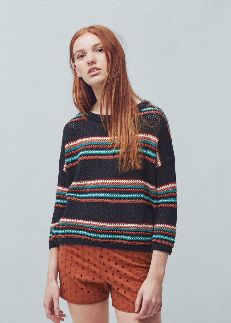 Striped cotton sweater | MANGO