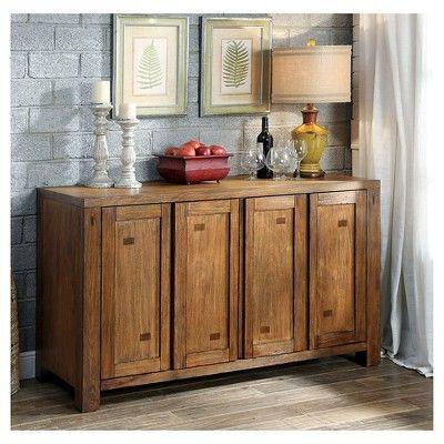 Morrison Dining Buffet Wood/Dark Oak - Furniture of America, Warm Oak/Nature's Brown