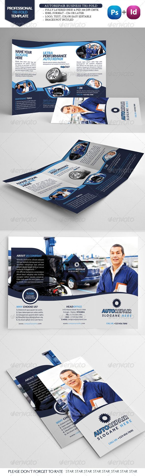 Automobile Repair Tri-Fold - Brochures Print Templates
