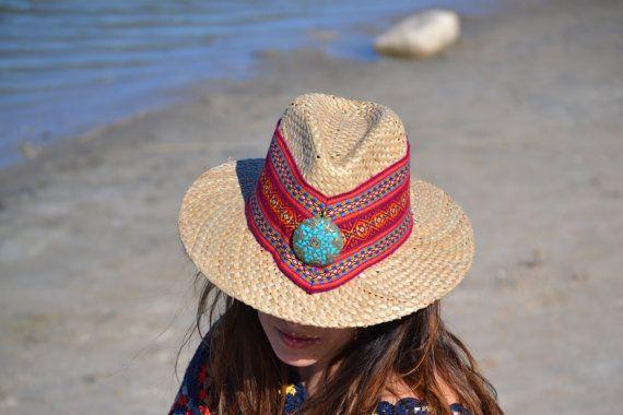 SUMMER ETHNIC HAT Multicolor hat Hippie Hat Straw por MISIGABRIELLA