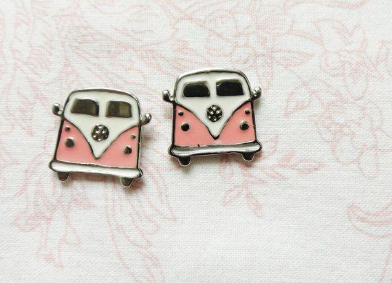 Hippie bus earrings Pink Volkswagen Van VW Camper by MyFunnyThings, $12.90
