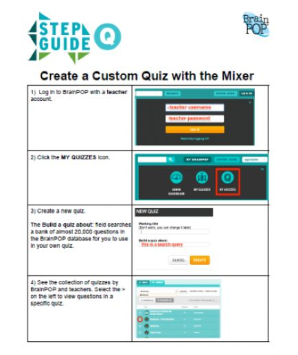 MIXER STEP GUIDE: This step guide will support you as you create a customized quiz using the Mixer.