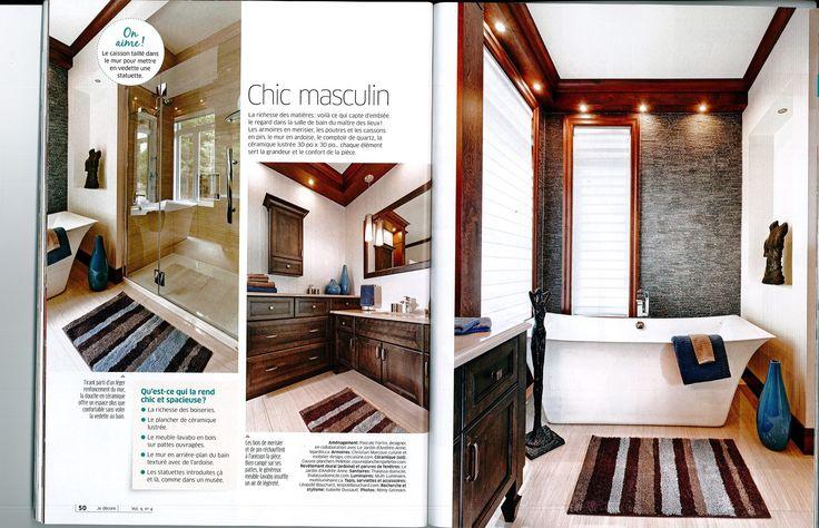 Salle de bain fait avec la collaboration du Jardin d'Andrée-Anne, chic masculin, design d'intérieur, www.lejardin.ca