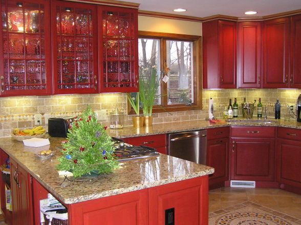 Red Kitchen, Cherry Cabinets With Cinnabar Stain. Tumbled Stone Backsplash,  Granite Counter Tops