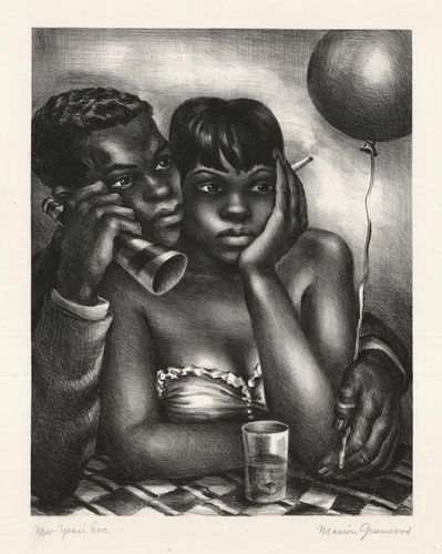 'New Years Eve' (1942) by American artist Marion Greenwood (1909-1970). Lithograph, edition of 250, 11.75 x 9.25 in. via The Old Print Shop