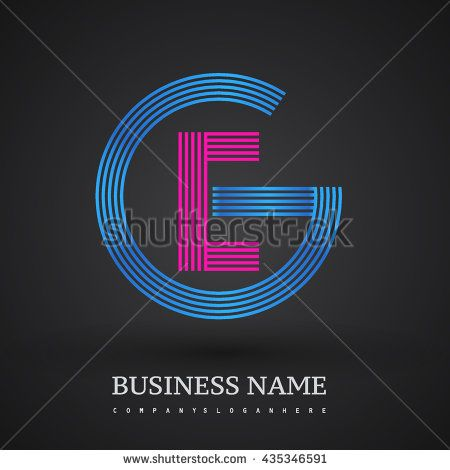 Letter GE or EG linked logo design circle G shape. Elegant blue and red colored letter symbol. Vector logo design template elements for company identity.