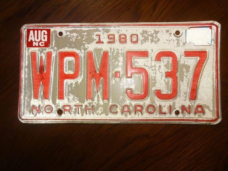 North Carolina License Plate 1980