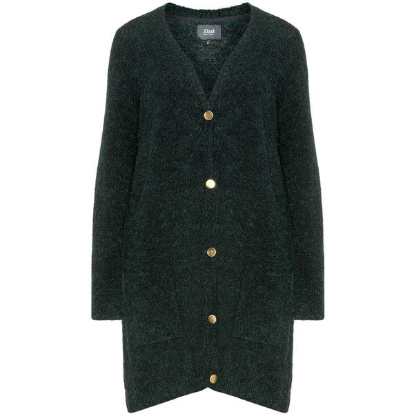 Zizzi Dark-Green Plus Size Long line cardigan ($87) ❤ liked on Polyvore - The 25+ Best Plus Size Cardigans Ideas On Pinterest Plus Fashion