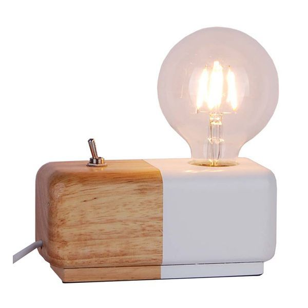 Lampe décorative design scandinave en bois bicolore Domino