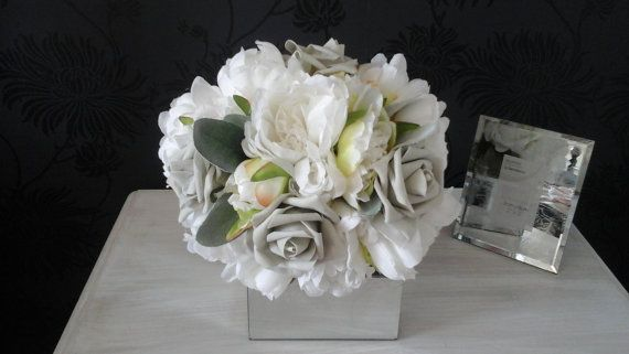 pale ivory silk bouquet grey silver bouquet by izzabellasflowers