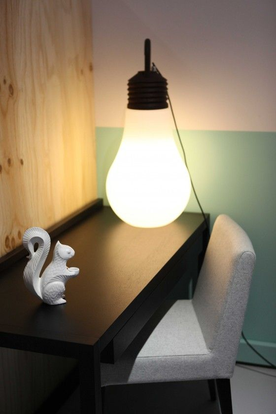 LaMegaDina indoor/outdoor lamp, JA Squirrel, Temperature Design Office Desk and fully upholstered Austin Chair.