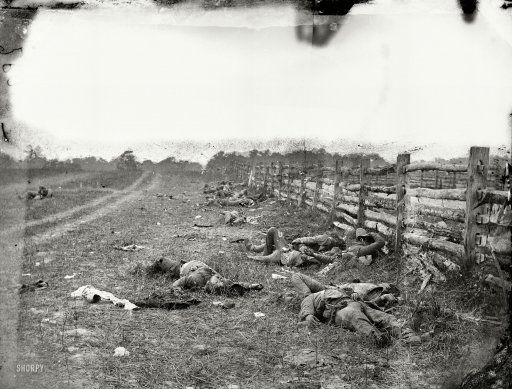 """September 1862. """"Antietam, Maryland. Confederate dead by a fence on the Hagerstown road."""" The first major battle of the Civil War on Union territory was fought 150 years ago this month. Wet plate glass negative."""