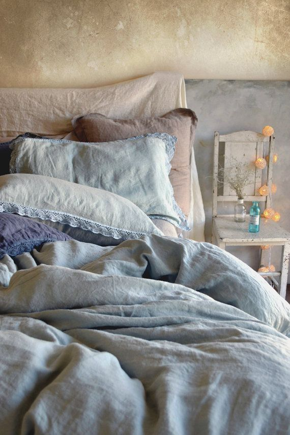 Linen bedding set: Duck Egg light blue stonewashed linen duvet cover and pillowcases. Provincial Living Bedding by House of Baltic Linen