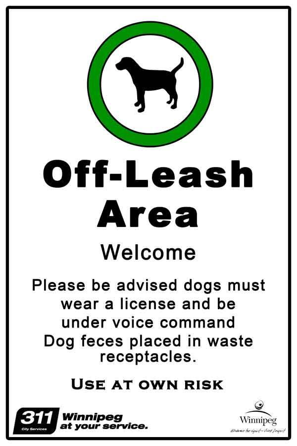 Off leash dog parks in Winnipeg.