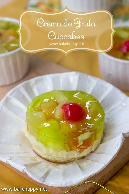 The cupcake version of this classic holiday dessert will surely tickle your family and friends fancy. Easy to make yet delectably good, these Crema de Fruta Cupcakes deserves a spot in the Noche Buena and Media Noche table. - www.bakehappy.net