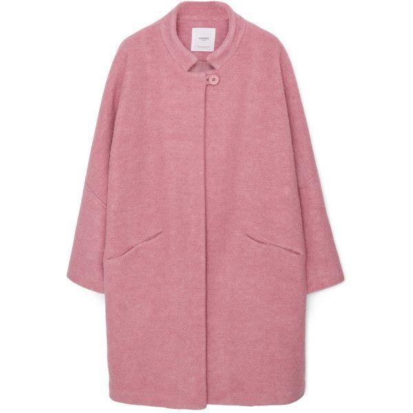 Oversize Wool Coat (€95) ❤ liked on Polyvore featuring outerwear, coats, woolen coat, long sleeve coat, oversized coat, red coat and mango coat