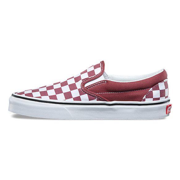 burgundy checkered slip on vans