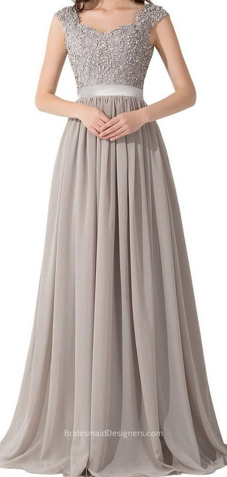Grey tone with embroidered top complete this modest a-line floor length long bridesmaid dress. Cap sleeve lace bodice enforced by sheer ribbon at waist, ethereal chiffon flows into floor length skirt with draped detail, illusion back.