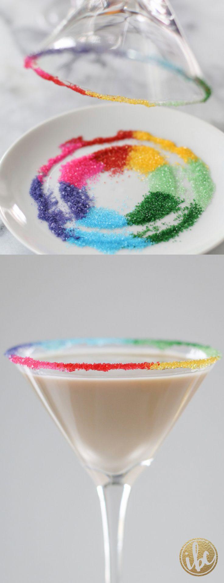 Leprechaun's Kiss Martini - St. Patrick's Day cocktail recipe with rainbow sugar rim.