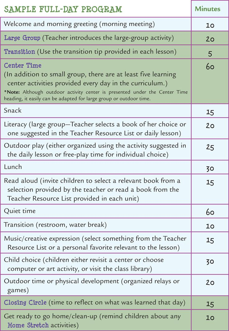 Learn Every Day: The Preschool Curriculum - Sample Schedules