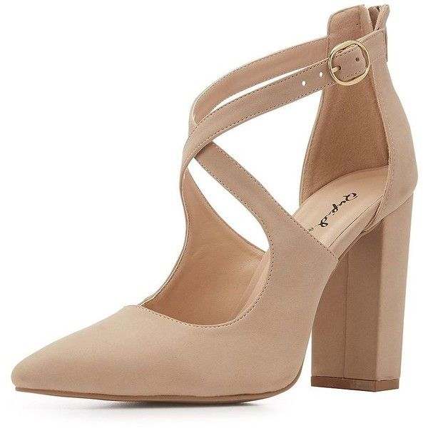 Qupid Faux Nubuck Crisscross Dress Sandals (€21) ❤ liked on Polyvore featuring shoes, sandals, zipper shoes, padded sandals, nude heeled sandals, wrap shoes and qupid sandals