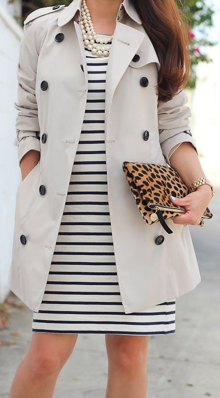 Trench coats look darling over dresses, too! Have fun and play up your prints underneath this classic coat! For an ultra feminine look, add girly jewels like a strand of pearls and dainty rings! Would you wear this look for work or play?