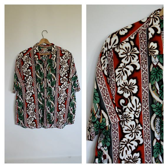 Mens Hawaiian Shirt Hawaii Tribal Shirt Vintage Hawaii