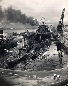 Pearl Harbor December 7, 1941 - USS Cassin, USS Downes, USS Pennsylvania in dry dock