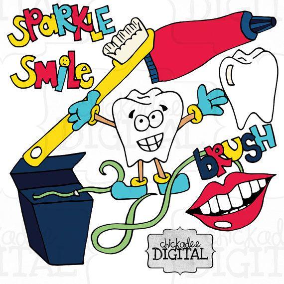 Instant Download Dental Clip Art Dentist by ChickadeeDigital