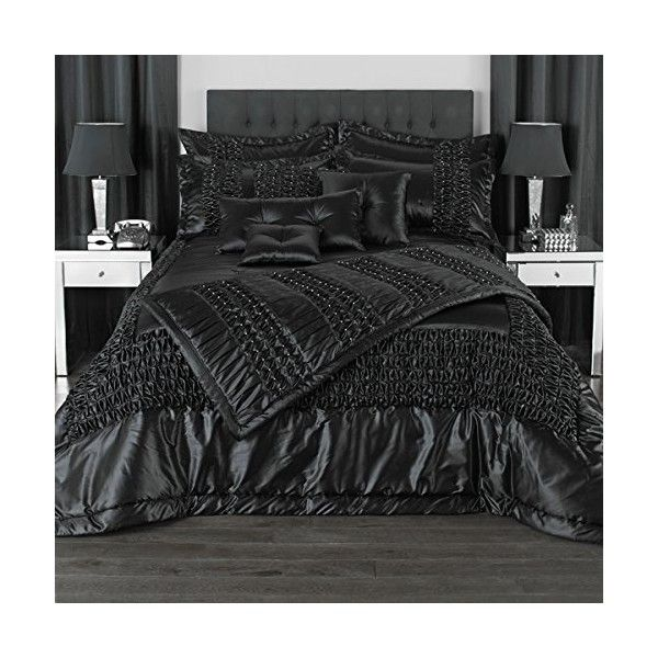 Elegance Bedroom Couture Monte Carlo Duchess Satin Bedspread, Black,... ($210) ❤ liked on Polyvore featuring home, bed & bath, bedding, bedspreads, black bedspread, black satin bedding, black bedding, satin bedding and satin bedspread