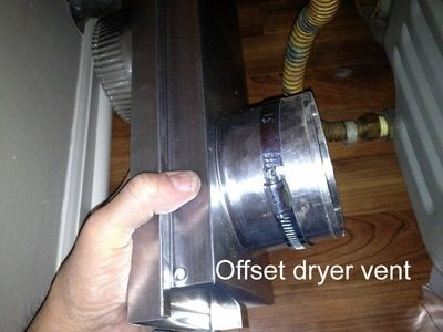 The offset dryer vent allows for tight installations in close quarters and adjustable offset between the dryer exhaust and the wall exhaust vent connections.