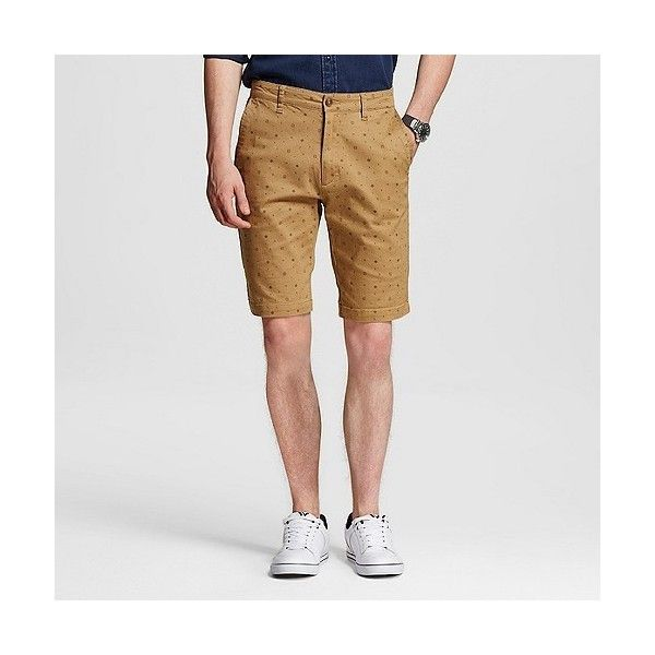 Men's Stretch Twill Printed Chino Shorts British Khaki  - Modern... ($30) ❤ liked on Polyvore featuring men's fashion, men's clothing, men's shorts, britsh khaki, mens apparel, mens clothing, mens chino shorts and mens khaki shorts