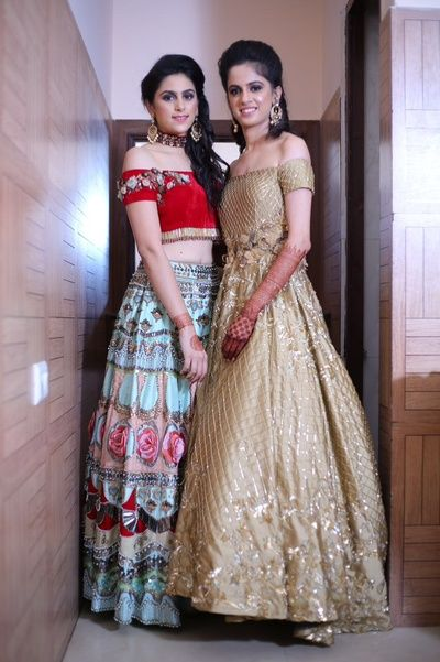 Sister of the Bride - Aqua and Red Lehenga and Gold Sequinned Gown | WedMeGood | Aqua, Pink and Red Lehenga with Off-Shouder Red Blouse and Choker, Gold Sequinned Off-Shoulder Gown #wedmegood #indianbride #indianwedding #aqua #lehenga #gown #sisterofthebride #sisterofthebrideoutfit