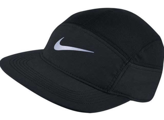5 Panel Black Unisex Running Cap Hat OS