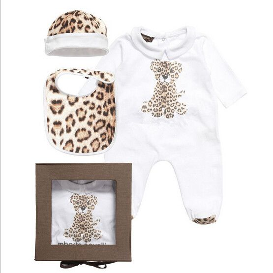 Brand Baby Leopard Rompers 100% Cotton Newborn One-pieces Clothing  Hat + romper + bib baby jumpsuit Gift