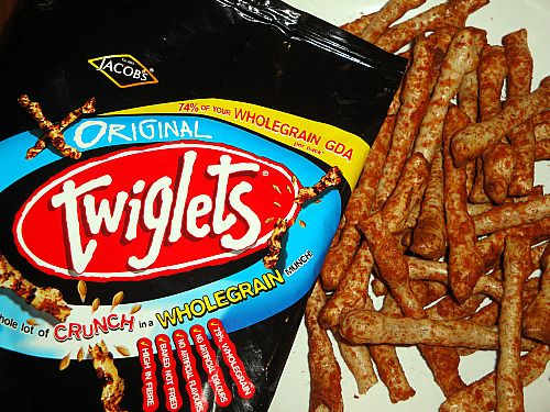 Twiglets. Twiglets are crisp, wheat-based snacks with a distinctive knobbly shape similar to that of a small twig.