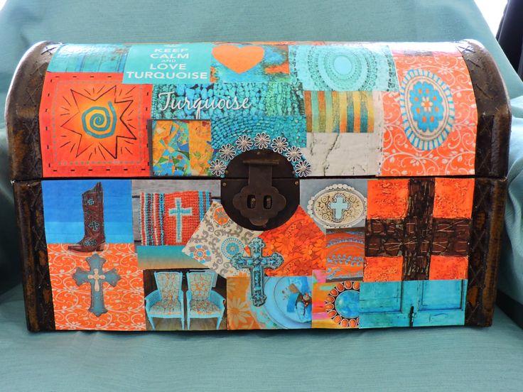Decoupage Antique Trunk Southwestern Design Storage Decoration Card Holder by DecoupageItCreations on Etsy