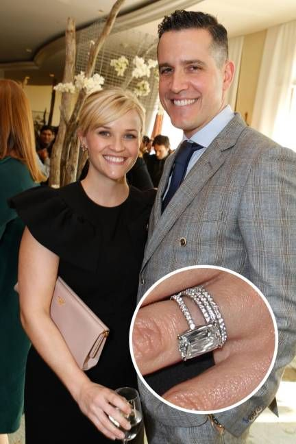 Reese Witherspoon and Jim Toth.  Jim Toth secured his spot in Reese Witherspoon's heart with this four-carat stunner.   Read more: Top 25 Celebrity Engagement Rings - Best Celebrity Engagement Rings - ELLE  Follow us: @ElleMagazine on Twitter | ellemagazine on Facebook