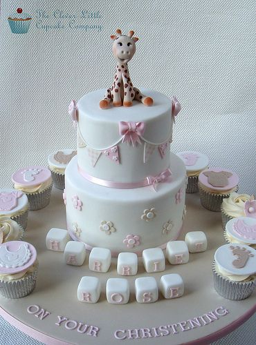 Giraffe Christening Cake by The Clever Little Cupcake Company, via Flickr
