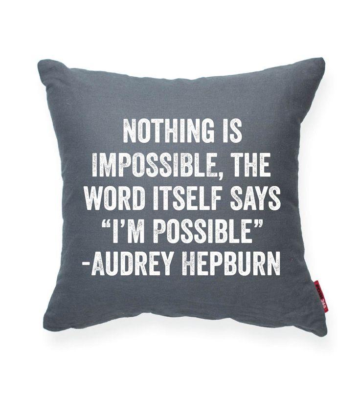 "Audrey Hepburn """"I'm Possible"""" Decorative Throw Pillow"