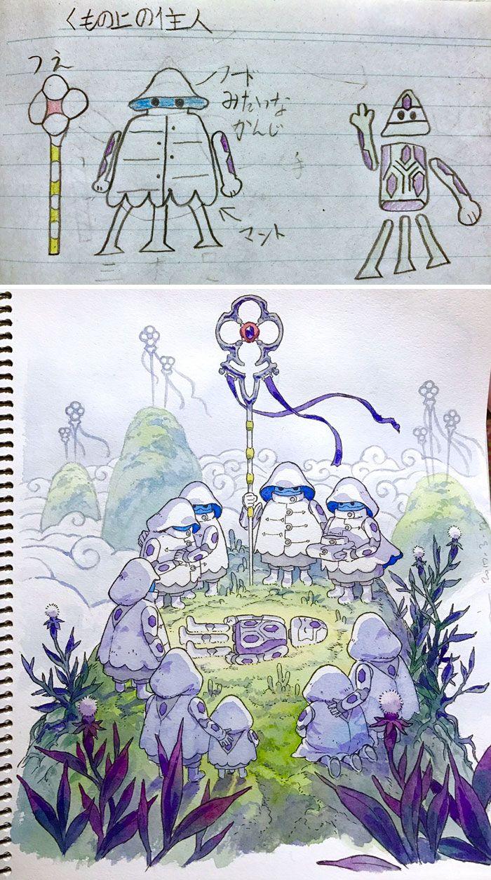 Quando um ilustrador decide transformar os desenhos dos filhos em personagens de anime - O ilustrador Thomas Romain aproveita os desenhos dos filhos para criar personagens interessantes e criativos. Confira!