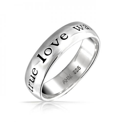 Bling Jewelry True Love Waits Sterling Silver Purity Ring