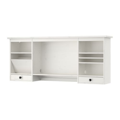 IKEA - HEMNES, Add-on unit for desk, white stain, , You can make room for a computer monitor or extra storage by adjusting the middle shelf.</t><t>Solid wood is a durable natural material.</t><t>Built-in cable management for collecting cables and cords out of sight but close at hand.</t><t>The shelves can be tilted, providing practical storage for papers and documents.