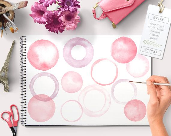 By Lef graphics on Etsy Watercolor clipart circles borders and frames (48 pc) pink purple rose. handpainted round clip art for blogs digital scrapbooking cards etc by ByLef
