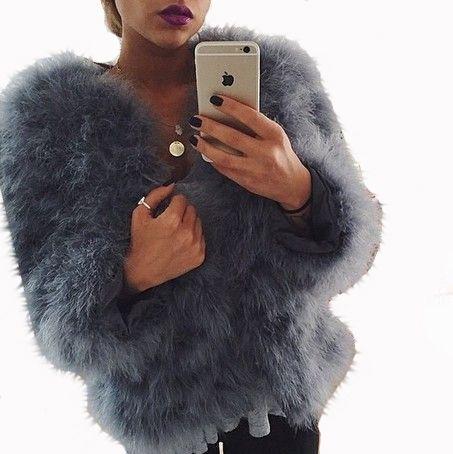 Faux Fur Ostrich Feather Jacket